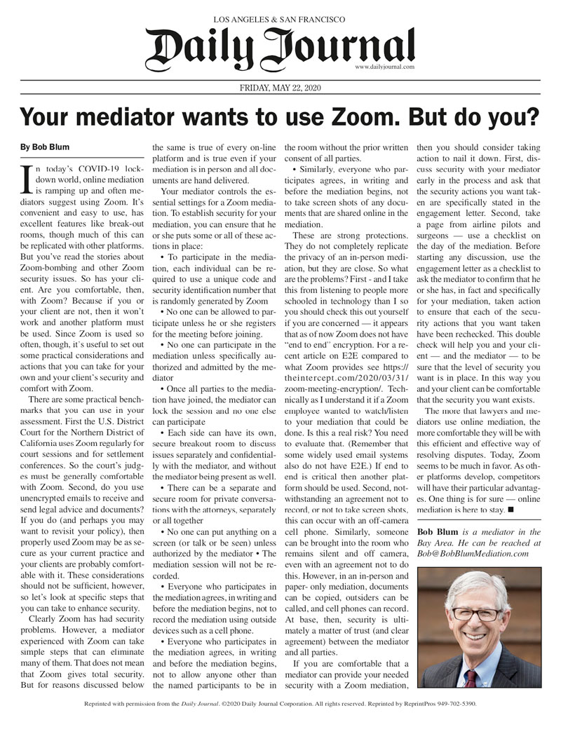 your mediator wants to use zoom, but do you?